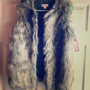 NWT Grey Fur Vest